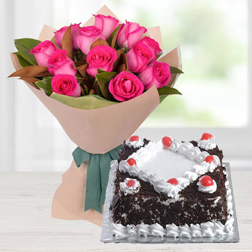 Fantabulous Pink Roses bunch with tasty Black Forest Cake