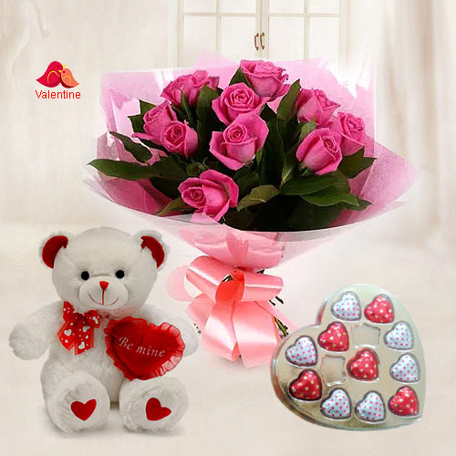 Soft Pink Roses with Heart Shape Chocolates n Teddy Bear