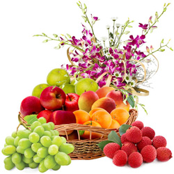 Fresh Fruits Basket with Orchid