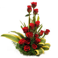Pretty Red Roses Basket
