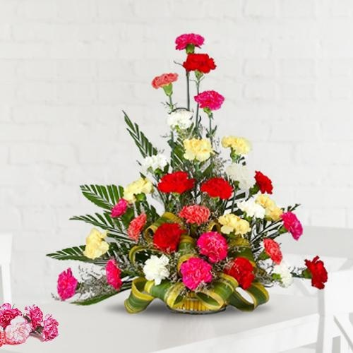 Splendid Arrangement of 30 Mixed Carnations