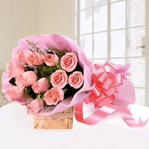 12 Pink Roses Bouquet Tissue Wrap