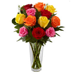 Delightful Mixed Roses in Vase