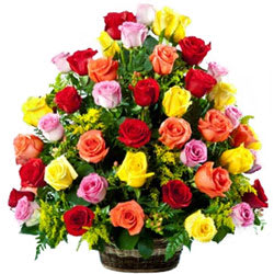 Dazzling Basket of Mixed Color Roses