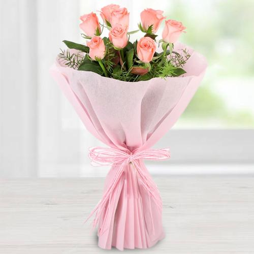 Blossoming Pink Roses Bouquet in Tissue Wrapped