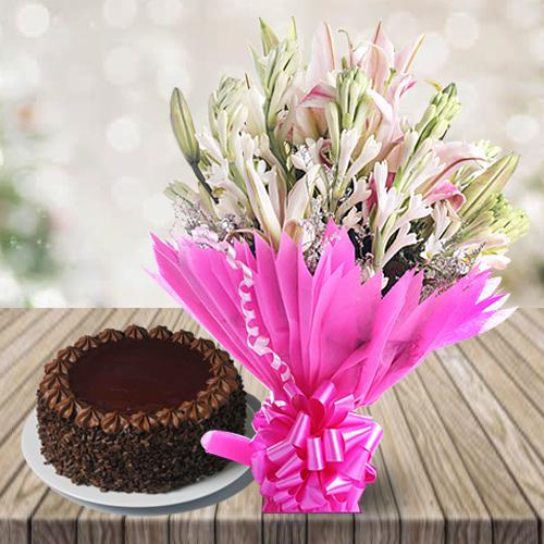 Wonderful Lilies N Gladiolus Bouquet with Chocolate Cake