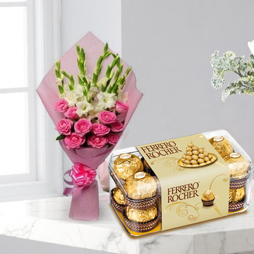 Mesmerizing Roses n Gladiolus Bouquet with Ferrero Rocher