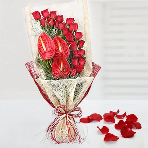 Exotic Bouquet of Red Roses n Anthurium