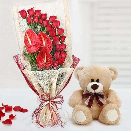 Marvelous Bouquet of Red Roses n Anthurium with Teddy