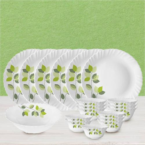 Designer Larah by Borosil Green Leaves Silk Series Dinner Set