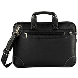 Faux Leather Office Folio cum Leather Bag from Vaunt in Black