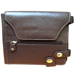 Brown Genuine Leather Purse for Ladies with Security Clutches