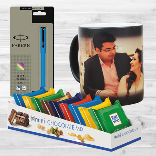 Remarkable Personalized Photo Magic Mug N Parker Pen with Mini Chocolates