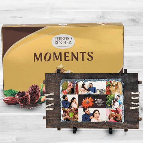 Exclusive Personalized Photo Rock in Wood Stone n Ferrero Rocher