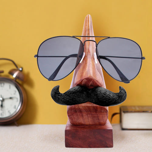 Attractive Handmade Nose Shape Spectacle Stand with Moustache