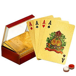 Authentic and Certified Gold Plated Playing Cards with free Roli Tilak and Chawal