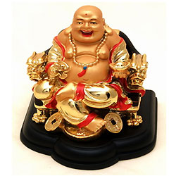 Exclusive Laughing Buddha Sitting on Dragon Chair