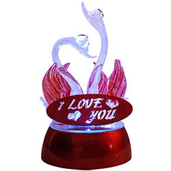 Sweet Dream LED Lighted I Love You Crystal Swan Couple Set