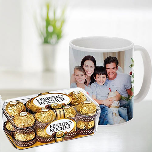 Stylish Personalized Coffee Mug with Ferrero Rocher Chocolates