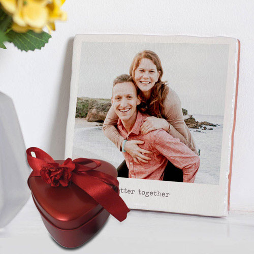 Superb Personalized Photo Tile with Heart Shape Hand Made Chocolates