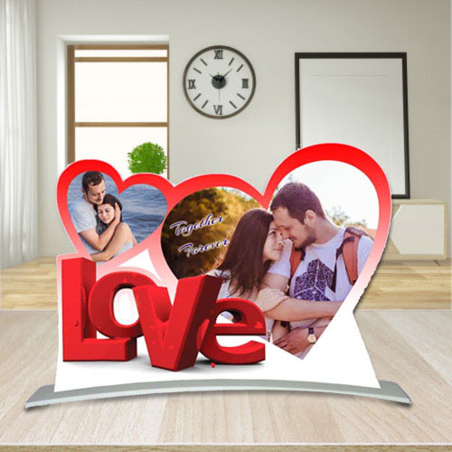 Graceful Twin Heart Shape Personalized Photo Frame with Love Message