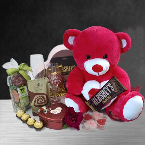 Amazing Candle Lit Romantic Evening Hamper with Teddy n Imported Chocolates