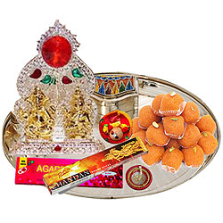 Exquisite Ganesh Lakshmi Idols with Silver Plated Thali and Pure Ghee Ladoo