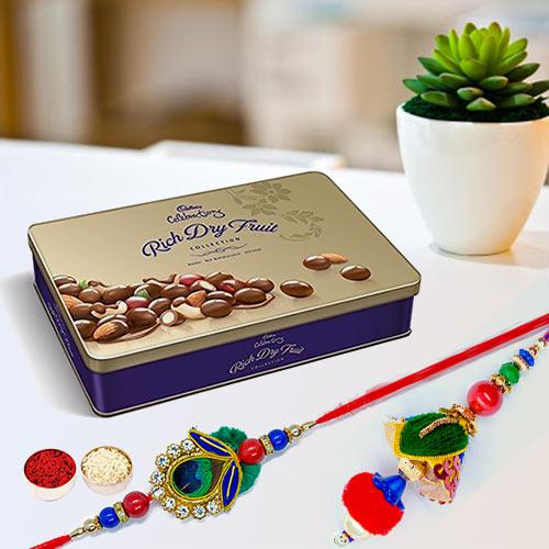 Cadbury Rich Dry Fruits Tin with Bhaiya Bhabhi Rakhi