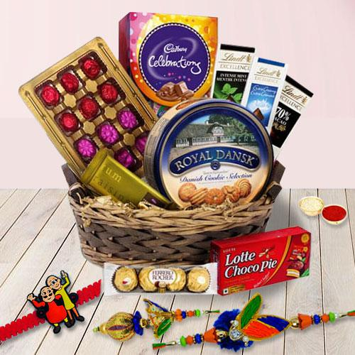 Assorted Chocolates Basket with Family Set Rakhi