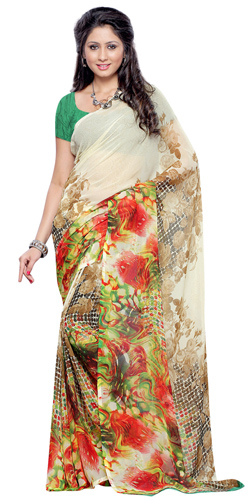Exquisite Georgette Printed Saree in Beige and Brown Colour