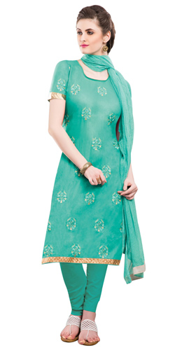 Mesmerizing Chiffon Cotton Embroidered Salwar Kameez in Green Colour