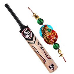 Impressive Rakhi Wishes Gift of Cricket Bat with Free Rakhi, Roli Tika, Chawal for your Cricket Fan Brother
