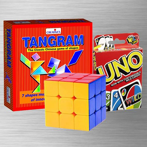 Marvelous Uno Card Game with Tangram Puzzle N Rubiks Cube