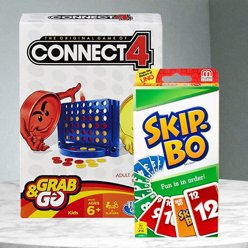 Exclusive Hasbro Connect 4 Grab and Go N Mattel Skip Bo Card Game
