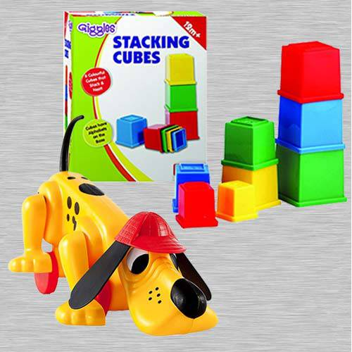 Exclusive Funskool Digger The Dog N Giggles Stacking Cubes
