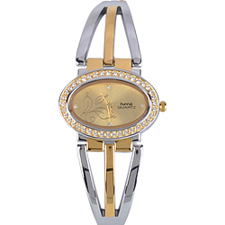 Fancy Golden Dial Stone Studded Designer Watch for Ladies