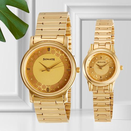 Outstanding Analog Champagne Dial Couple Watch from Sonata