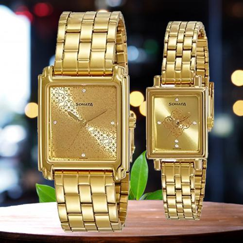 Exclusive Sonata Fiber Collection Analog Watch for Couple